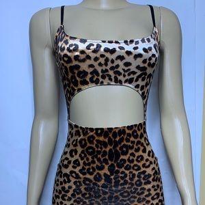 Cheetah Print Open Cut Clubbing Mini Dress